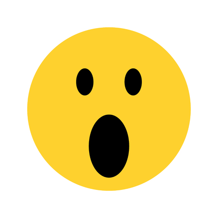 excited yellow face emoji on white background Illustration