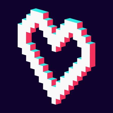 pixel heart made in 3d blue red white Standard-Bild - 124804608