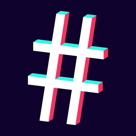 isolated hashtag icon 3d on dark background vector Standard-Bild - 124804610