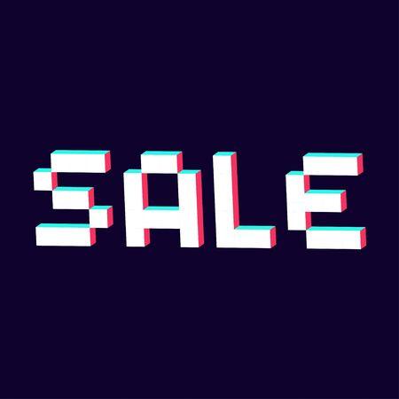 sale made with pixel 3d digital font vector Standard-Bild - 124804613