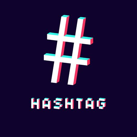 isolated hashtag icon 3d on dark background vector Standard-Bild - 124804615