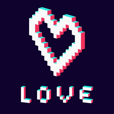 pixel heart made in 3d blue red white