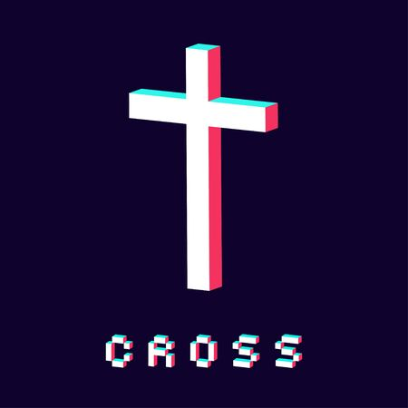 modern cross icon made in 3d isolated vector Çizim