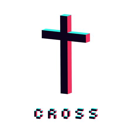 modern cross icon made in 3d isolated vector 일러스트