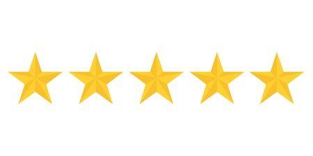five golden stars rating showing best quality vector Standard-Bild - 124804997