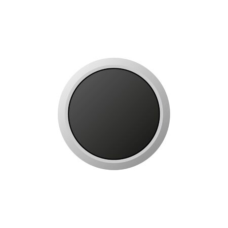 plain isolated black button on white background vector