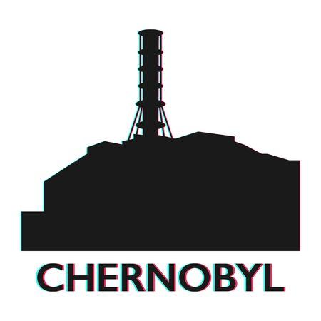 L'icône de la station électrique de l'atome nucléaire de Tchernobyl vector illustration