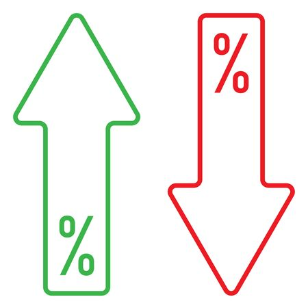 icon of percent growing and falling color vector