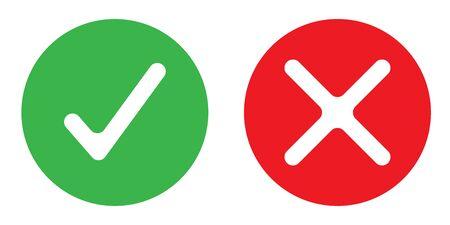 Einfaches Symbol mit Ja- oder Nein-Farbvektor