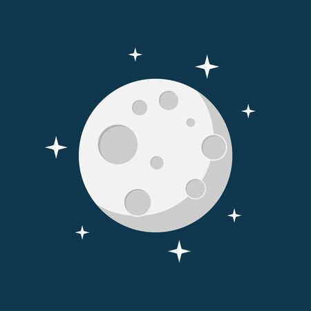moon in the space flat design vector illustration