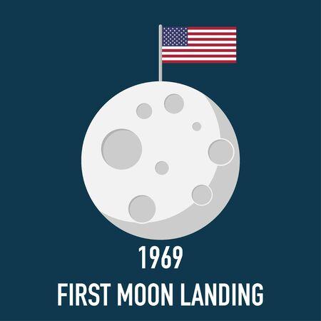 moon first landing 1969 flat design vector illustration