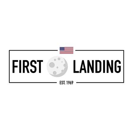 moon first landing 1969 modern banner vector illustration Vector Illustration