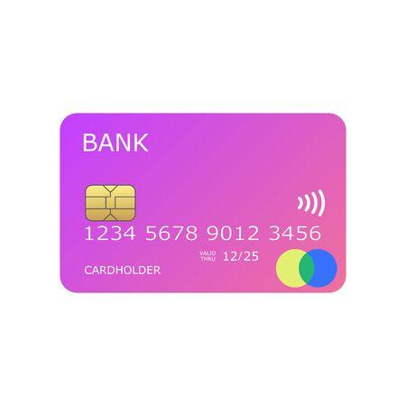 Pinky coloré maquette illustration vectorielle de carte de crédit Vecteurs