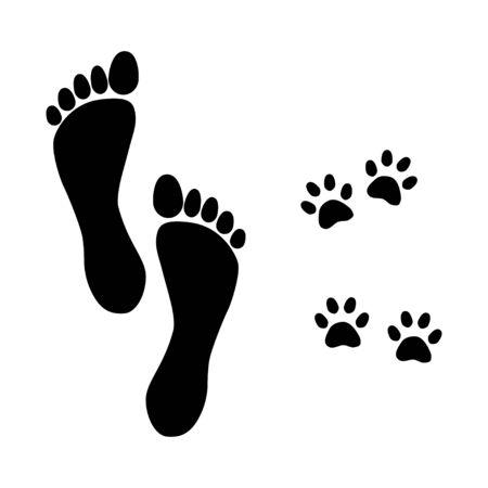 foot prints man and dog walking vector illustration