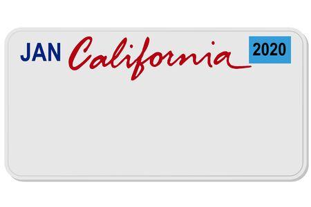 california new car digital registration plate vector illustration