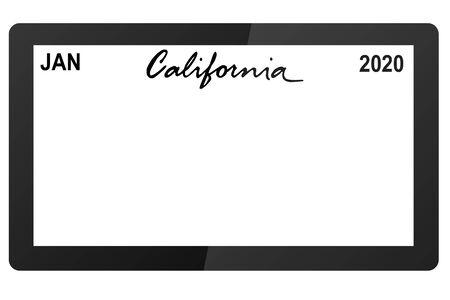 california new car digital registration plate vector illustration Stockfoto - 129357133