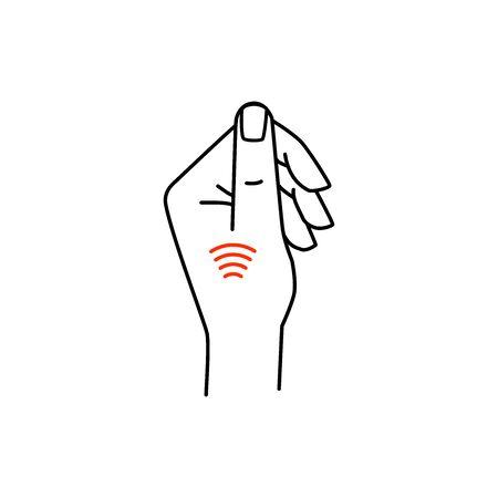 pay pass payment using chip card vector illustration Иллюстрация