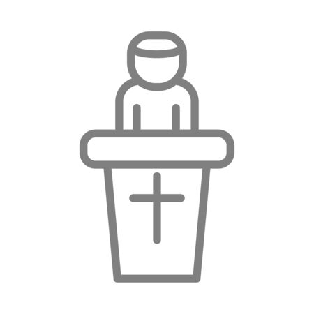 simple preacher pastor modern isolated icon vector illustration Çizim