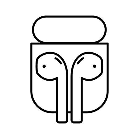modern design wireless earphones icon isolated vector illustration Çizim