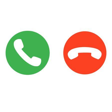 telefoongesprek knoppen accepteren en weigeren vectorillustratie