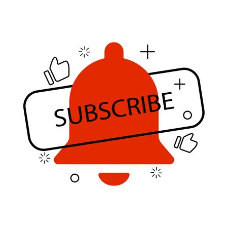 Icon with bell subscribe like modern liquid design