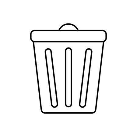 Button with trash bin icon. Web design vector