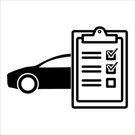 Car servise checklist clipboard. Tick sign. vector illustration Ilustração