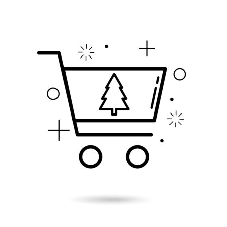Xmas sale icon with cart and tree vector