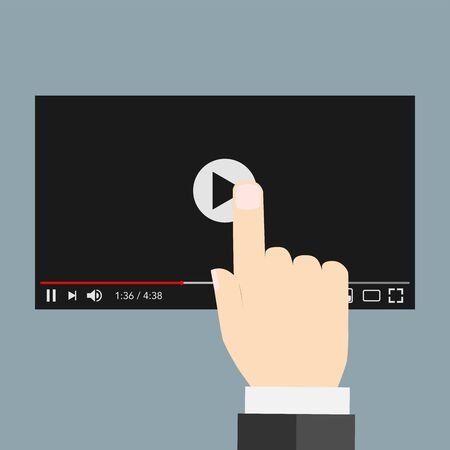 hand pointing on video screen with black background.