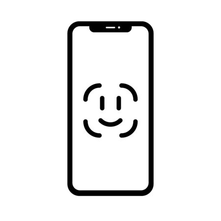 Illustration with face id for mobile device design