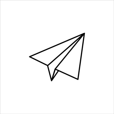 Paper hand plane vector in style white background