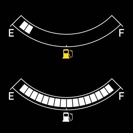 Gauge vector gas tank icon. Full and empty