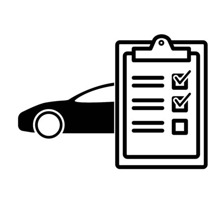 Car servise checklist clipboard. Tick sign. vector illustration Çizim