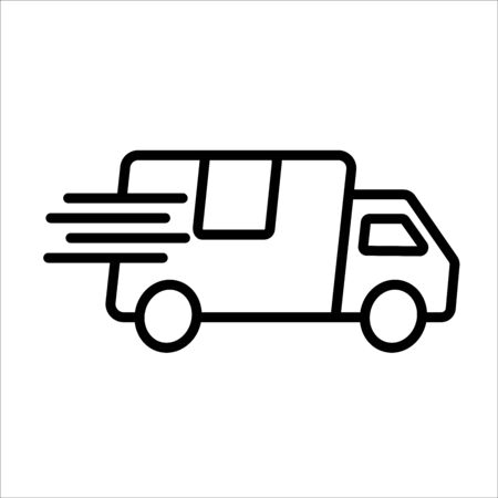 Courier post express delivery service. Car silhouette icon.