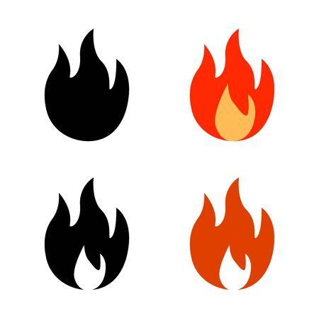 Modern cartoon illustration with red, black fire icon