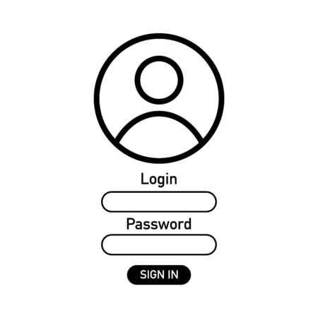 Modern illustration with ui login. Interface sign icons.
