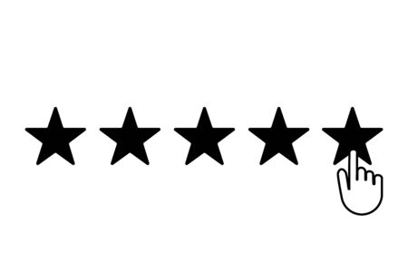 Five stars choice. Rating satisfaction. Vector background illustration.