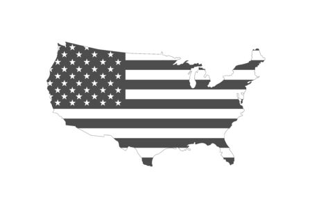usa map shaped flag black and white vector 向量圖像