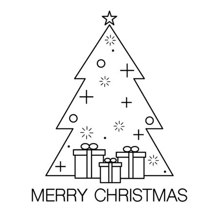 Christmas tree icon in contemporary style vector illustration