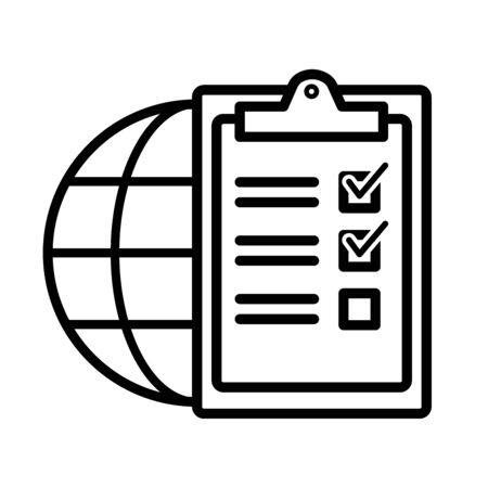 icon world and checklist for global tasks vector