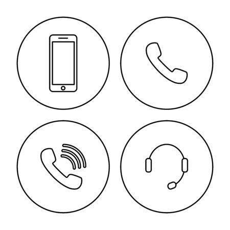 Modern vector illustration. Telephone mobile headset icon symbol.