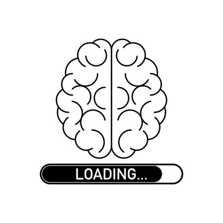 Loading brain, concept design intelligence mind sign vector