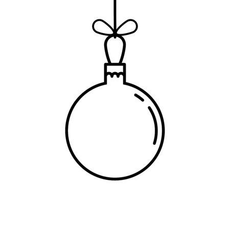 Arbre de Noël boule icône ligne symbole illustration vectorielle