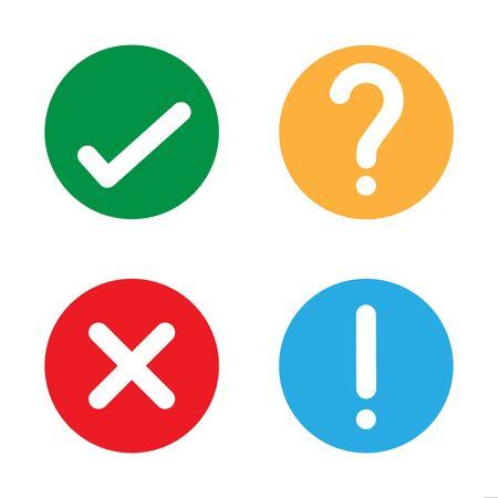 Sí, no verifique el icono de ilustración de vector de signo de interrogación