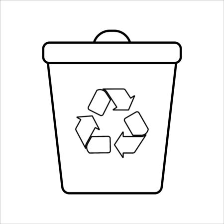 Trash bin recycle. Flat isolated illustration. Reduce, reuse