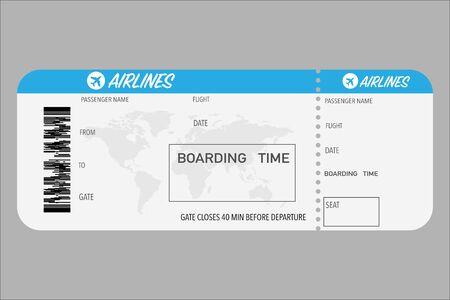 Plantilla con ticket de embarque. Ilustración de tarjeta de viaje en blanco