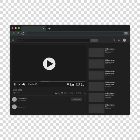 Realistic computer video for site design. Template mockup. 向量圖像