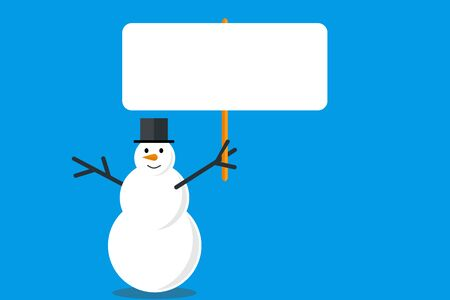 christmas snowman holds a white empty banner vector illustration 向量圖像