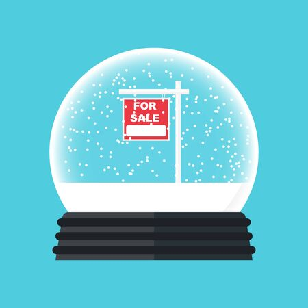 for sale banner in Christmas snow glass vector