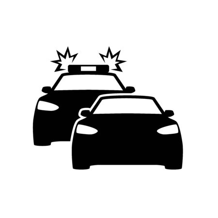 police car chasing another car icon vector illustration